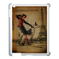Paris Girl And Great Dane Vintage Newspaper Print Sexy Hot Gil Elvgren Pin Up Girl Paris Eiffel Towe Apple Ipad 3/4 Case (white) by chicelegantboutique