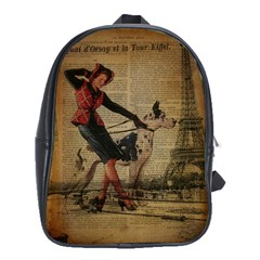 Paris Girl And Great Dane Vintage Newspaper Print Sexy Hot Gil Elvgren Pin Up Girl Paris Eiffel Towe School Bag (xl) by chicelegantboutique