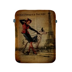 Paris Girl And Great Dane Vintage Newspaper Print Sexy Hot Gil Elvgren Pin Up Girl Paris Eiffel Towe Apple Ipad 2/3/4 Protective Soft Case by chicelegantboutique