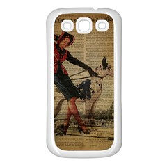 Paris Girl And Great Dane Vintage Newspaper Print Sexy Hot Gil Elvgren Pin Up Girl Paris Eiffel Towe Samsung Galaxy S3 Back Case (white) by chicelegantboutique