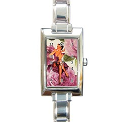 Cute Purple Dress Pin Up Girl Pink Rose Floral Art Rectangular Italian Charm Watch by chicelegantboutique