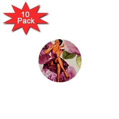Cute Purple Dress Pin Up Girl Pink Rose Floral Art 1  Mini Button (10 Pack) by chicelegantboutique