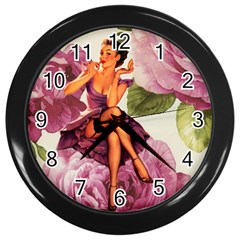 Cute Purple Dress Pin Up Girl Pink Rose Floral Art Wall Clock (black) by chicelegantboutique