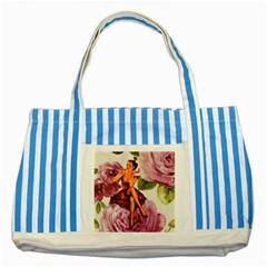 Cute Purple Dress Pin Up Girl Pink Rose Floral Art Blue Striped Tote Bag by chicelegantboutique