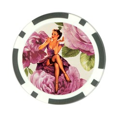 Cute Purple Dress Pin Up Girl Pink Rose Floral Art Poker Chip 10 Pack by chicelegantboutique