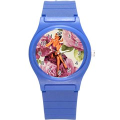 Cute Purple Dress Pin Up Girl Pink Rose Floral Art Plastic Sport Watch (small) by chicelegantboutique