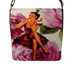 Cute Purple Dress Pin Up Girl Pink Rose Floral Art Flap Closure Messenger Bag (large) by chicelegantboutique