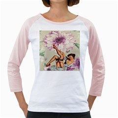 Gil Elvgren Pin Up Girl Purple Flower Fashion Art Womens  Long Sleeve Raglan T Shirt (white) by chicelegantboutique
