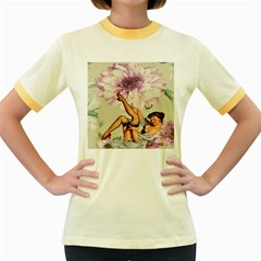 Gil Elvgren Pin Up Girl Purple Flower Fashion Art Womens  Ringer T-shirt (colored) by chicelegantboutique