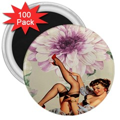 Gil Elvgren Pin Up Girl Purple Flower Fashion Art 3  Button Magnet (100 Pack) by chicelegantboutique