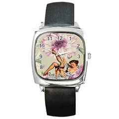 Gil Elvgren Pin Up Girl Purple Flower Fashion Art Square Leather Watch by chicelegantboutique