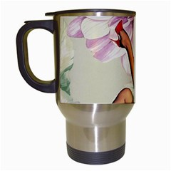 Gil Elvgren Pin Up Girl Purple Flower Fashion Art Travel Mug (white) by chicelegantboutique