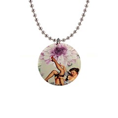 Gil Elvgren Pin Up Girl Purple Flower Fashion Art Button Necklace by chicelegantboutique