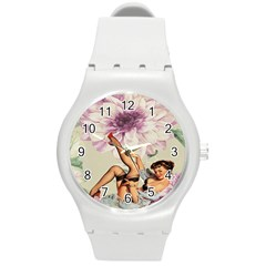 Gil Elvgren Pin Up Girl Purple Flower Fashion Art Plastic Sport Watch (medium) by chicelegantboutique