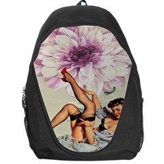 Gil Elvgren Pin Up Girl Purple Flower Fashion Art Backpack Bag by chicelegantboutique