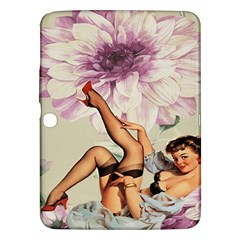 Gil Elvgren Pin Up Girl Purple Flower Fashion Art Samsung Galaxy Tab 3 (10 1 ) P5200 Hardshell Case  by chicelegantboutique