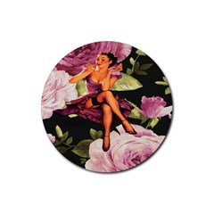 Cute Gil Elvgren Purple Dress Pin Up Girl Pink Rose Floral Art Drink Coaster (round) by chicelegantboutique