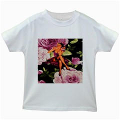 Cute Gil Elvgren Purple Dress Pin Up Girl Pink Rose Floral Art Kids' T-shirt (white) by chicelegantboutique