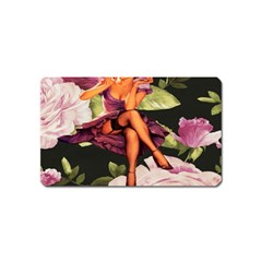 Cute Gil Elvgren Purple Dress Pin Up Girl Pink Rose Floral Art Magnet (name Card)