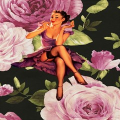 Cute Gil Elvgren Purple Dress Pin Up Girl Pink Rose Floral Art Canvas 12  X 12  (unframed) by chicelegantboutique