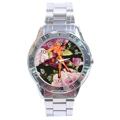 Cute Gil Elvgren Purple Dress Pin Up Girl Pink Rose Floral Art Stainless Steel Watch (men s) by chicelegantboutique