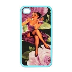 Cute Gil Elvgren Purple Dress Pin Up Girl Pink Rose Floral Art Apple Iphone 4 Case (color) by chicelegantboutique