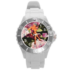 Cute Gil Elvgren Purple Dress Pin Up Girl Pink Rose Floral Art Plastic Sport Watch (large) by chicelegantboutique