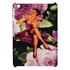 Cute Gil Elvgren Purple Dress Pin Up Girl Pink Rose Floral Art Apple Ipad Mini Hardshell Case by chicelegantboutique