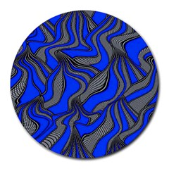 Foolish Movements Blue 8  Mouse Pad (round)
