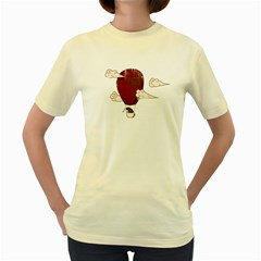 The Kiwi Learns To Fly  Womens  T Shirt (yellow) by Contest1750662