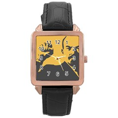 Power With Lenin Rose Gold Leather Watch  by youshidesign