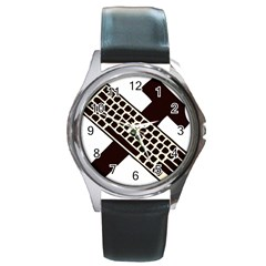 Hammer And Keyboard  Round Metal Watch (silver Rim) by youshidesign