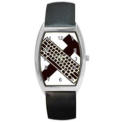 Hammer And Keyboard  Tonneau Leather Watch by youshidesign