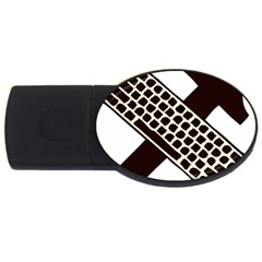Hammer And Keyboard  4gb Usb Flash Drive (oval) by youshidesign