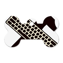 Hammer And Keyboard  Dog Tag Bone (two Sided) by youshidesign