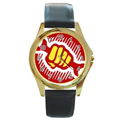 Power To The People Round Metal Watch (gold Rim)  by youshidesign