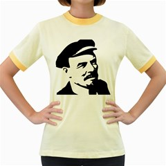 Lenin Portret Womens  Ringer T Shirt (colored)