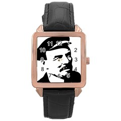Lenin Portret Rose Gold Leather Watch  by youshidesign