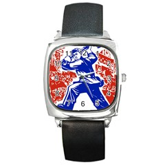 Communist Party Of China Square Leather Watch by youshidesign