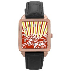 Octobe Revolution Rose Gold Leather Watch  by youshidesign