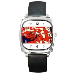 Communist Propaganda He And She  Square Leather Watch by youshidesign