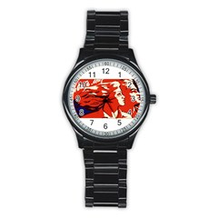 Communist Propaganda He And She  Sport Metal Watch (black) by youshidesign