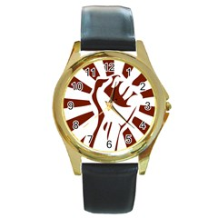 Fist Power Round Metal Watch (gold Rim)  by youshidesign