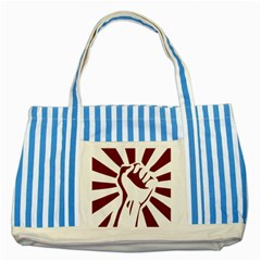 Fist Power Blue Striped Tote Bag