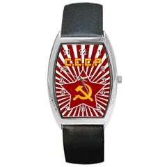 Hammer And Sickle Cccp Barrel Style Metal Watch by youshidesign