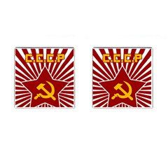 Hammer And Sickle Cccp Cufflinks (square) by youshidesign