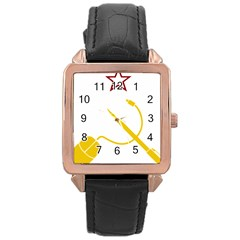 Cccp Mouse Pen Rose Gold Leather Watch  by youshidesign