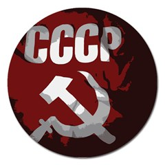 Cccp Soviet Union Flag Magnet 5  (round) by youshidesign