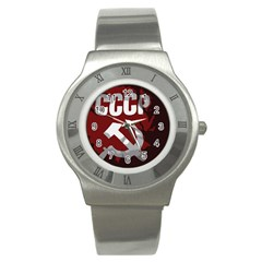 Cccp Soviet Union Flag Stainless Steel Watch by youshidesign