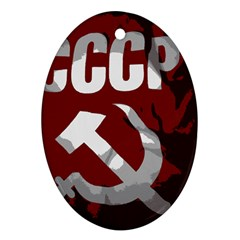 Cccp Soviet Union Flag Oval Ornament (two Sides) by youshidesign